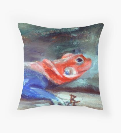 African Rainbow Lizard Throw Pillow