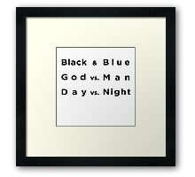 Black and Blue- Batman v Superman Framed Print
