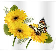 Daisy Floral Buttefly Art Poster