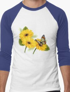 Daisy Floral Buttefly Art Men's Baseball ¾ T-Shirt
