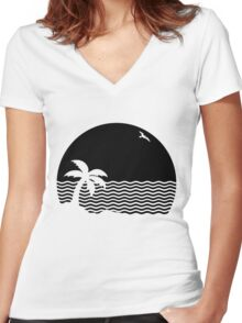 The Neighborhood - Wiped Out! Logo for Light Colored Clothing Women's Fitted V-Neck T-Shirt