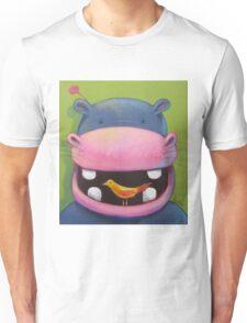 Hippo loves birds Unisex T-Shirt