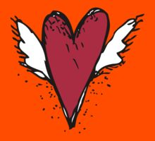 Red heart with wings Kids Tee