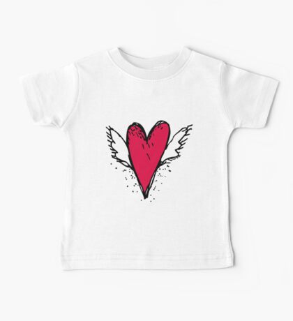 Red heart with wings Baby Tee