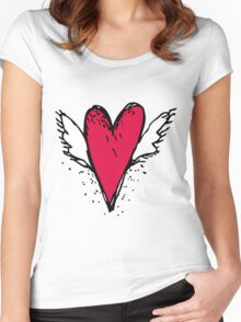 Red heart with wings Women's Fitted Scoop T-Shirt