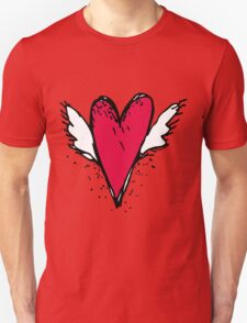 Red heart with wings Unisex T-Shirt
