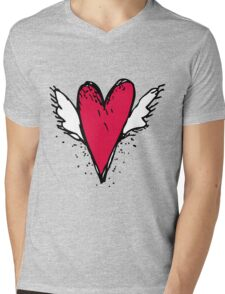 Red heart with wings Mens V-Neck T-Shirt