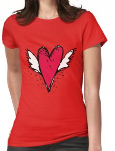 Red heart with wings Womens Fitted T-Shirt