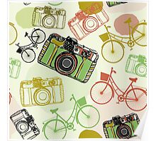 Vintage camera and bicycles Poster