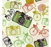 Vintage camera and bicycles Photographic Print