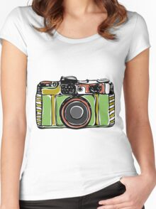 Vintage camera and bicycles Women's Fitted Scoop T-Shirt