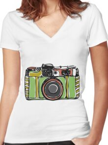 Vintage camera and bicycles Women's Fitted V-Neck T-Shirt