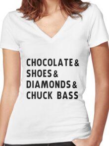 chocolate, shoes, diamonds, chuck bass Women's Fitted V-Neck T-Shirt