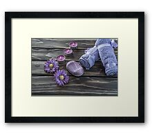 Spa concept. flowers,candles and bath purple towels Framed Print