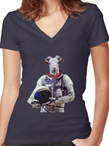 Goat Astronaut In Space Women's Fitted V-Neck T-Shirt
