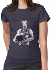 Goat Astronaut In Space Womens Fitted T-Shirt