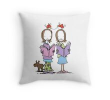 Two red birds Throw Pillow