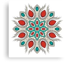 Bright red-turquoise circle ornament Canvas Print
