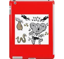 Cartoon koala bear running away from dangerous snake iPad Case/Skin