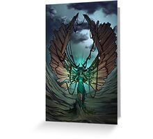 mysterious glow in the hands of a wood demon Greeting Card