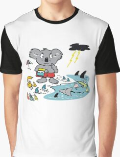 Cartoon koala bear at beach in Australia. Graphic T-Shirt