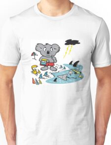 Cartoon koala bear at beach in Australia. Unisex T-Shirt