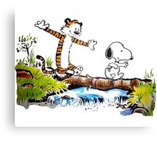 snoopy and hobbes Canvas Print