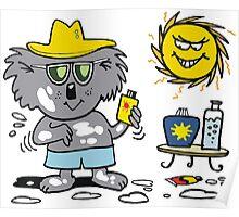 Cartoon of happy koala bear using suntan lotion Poster