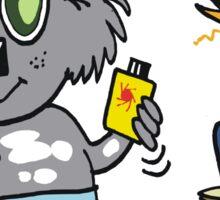 Cartoon of happy koala bear using suntan lotion Sticker