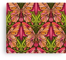 colorful pattern of butterfly and floral elements Canvas Print