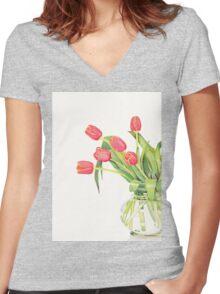 Orange tulips Women's Fitted V-Neck T-Shirt