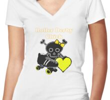 Roller Derby Chick (Yellow) Women's Fitted V-Neck T-Shirt