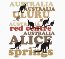 Aussie t-shirt design featuring roos and lettering by Al Benge