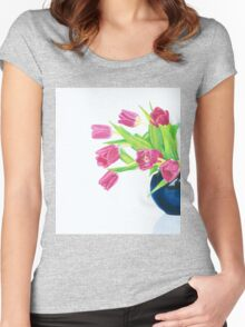 Pink tulips. Women's Fitted Scoop T-Shirt