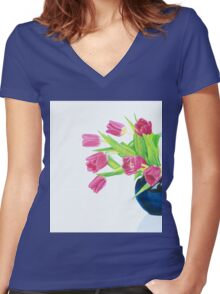 Pink tulips. Women's Fitted V-Neck T-Shirt