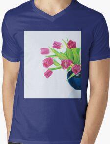 Pink tulips. Mens V-Neck T-Shirt