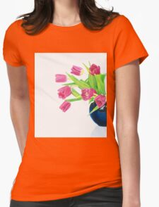Pink tulips. Womens Fitted T-Shirt