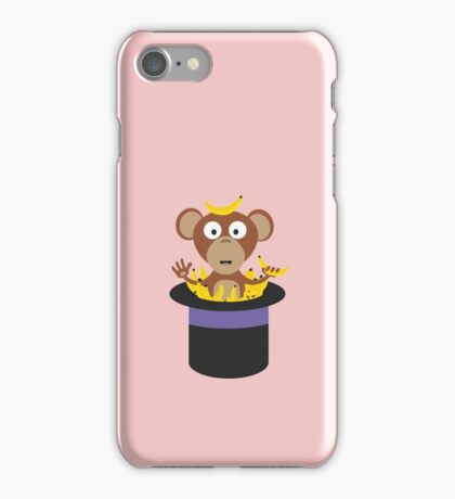 sweet monkey with bananas in hat  iPhone Case/Skin