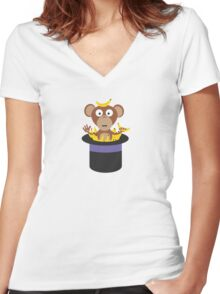 sweet monkey with bananas in hat  Women's Fitted V-Neck T-Shirt