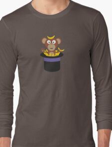 sweet monkey with bananas in hat  Long Sleeve T-Shirt