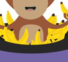 sweet monkey with bananas in hat  Sticker