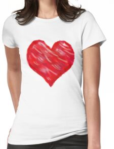 Watercolour Red Heart Womens Fitted T-Shirt