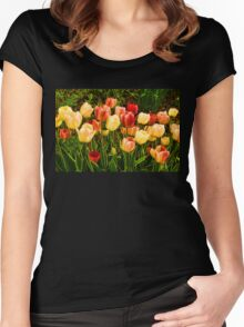 Impressions of Gardens - Particolored Vernal Tulips Women's Fitted Scoop T-Shirt