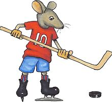 Hockey Player Mouse, Original Illustration by Joyce Geleynse