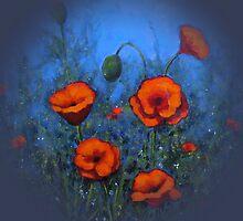 Red Poppies on Blue Background: Original Painting: Art by Joyce Geleynse