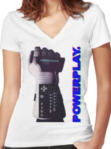 NES Power Glove - POWERPLAY Women's Fitted V-Neck T-Shirt