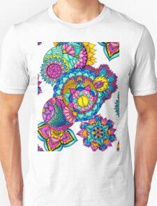 Modern bright floral watercolor mandala hand drawn T-Shirt
