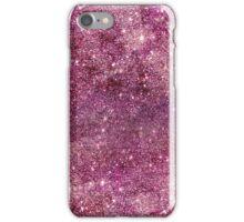 Modern faux purple glitter nebula rose gold iPhone Case/Skin