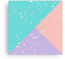 Modern pastel pink teal purple colorblock splatters Canvas Print