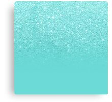 Girly faux glitter ombre teal color block Canvas Print